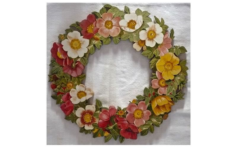 Flower wreath on cut wood - All rights reserved Dominique PEROTIN